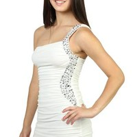 One Shoulder Dress with Cocoon Sides and Stone Keyhole Cutout