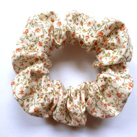 White Floral Patterned Scrunchie, Cotton Hair Scrunchy, Hair Accessory