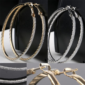 Simple Design Big Circle Hoop Earrings For Women Bohemian Bridal  Party Jewelry Gold Silver Alloy Earrings Brincos  EAR-0069