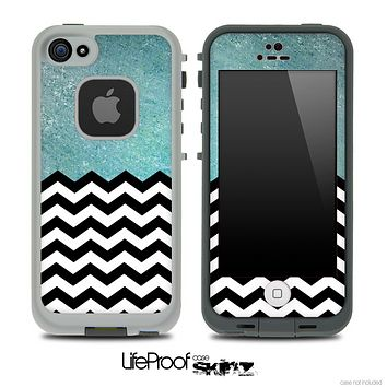 Mixed Dusty Turquoise and Chevron Pattern Skin for the iPhone 5 or 4/4s LifeProof Case
