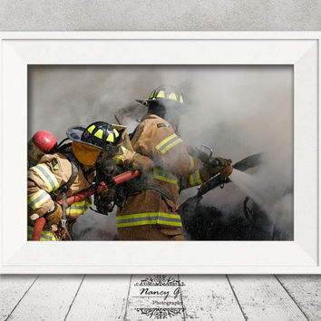 Firefighters Print, Car Fire Print, Firefighter Gift, Fine Art Print, Artwork, Home Decor, Office Decor, Living Room Art, Fireman Image