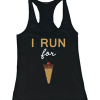 Funny Design Tank Top - I Run For Ice Cream - Gym Clothes, Workout Tanks