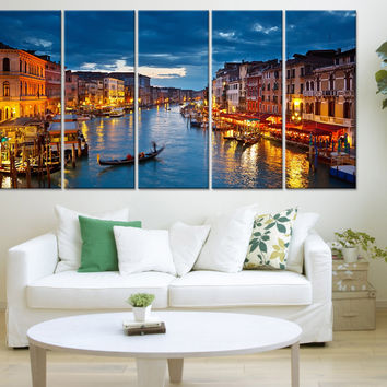 """City Wall Art - Large Canvas Print - Venice Canal and Gondolas Wall Art Print - Ready to Hang - Streched on Frame 1.5"""" Wall Art Print"""
