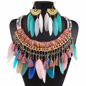 Vintage Women  Fabric Rope Feather necklace and Earrings Ethnic Jewelry Set Handmade