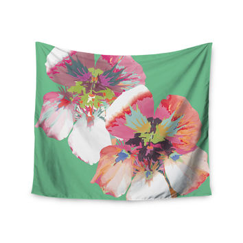 "Love Midge ""Graphic Flower Nasturtium Mint"" Green Magenta Wall Tapestry"