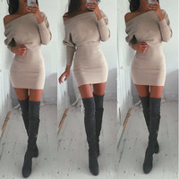 Everyday Wear Slim Long Long Sleeve Oblique Package Hip Casual Party Playsuit Clubwear Bodycon Boho Dress _ 4408