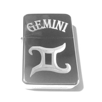 Vector KGM Thunderbird Custom Lighter - Gemini Celtic Horoscope Star Zodiac Sign Logo Silver High Polish Chrome Rare!
