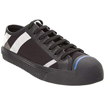 BURBERRY Kirk Canvas Check & Leather Low Top Sneaker, 40, Black