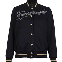 Mastermind Black Embroidered Varsity Jacket - Black Embroidered Varsity Jacket