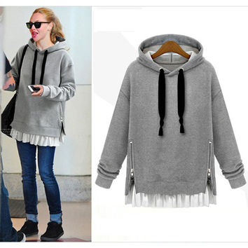 Side Zipper Hoodie Ruffled Sweater