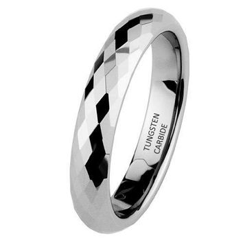4mm Faceted Tungsten Wedding Band (Platinum)