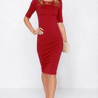 LULUS Exclusive We Built This Midi Wine Red Midi Dress