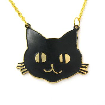Black Kitty Cat Shaped Animal Pendant Necklace | Limited Edition
