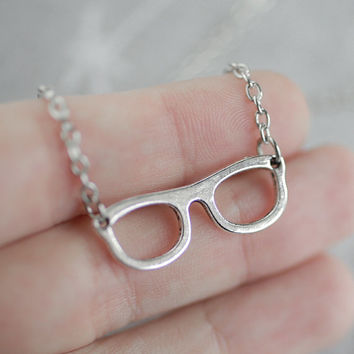 Glasses Necklace, Eye Glasses Necklace, Librarian Charm, Silver Nerd Jewelry, Teacher Necklace, Silver Glasses Charm, Optical Charm