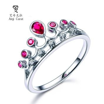 AIQICARAT 2017 Newest Fashion Crown Design Green Red Crystal Bijou Rings For Womens Party Wedding Engagement Date Jewelry