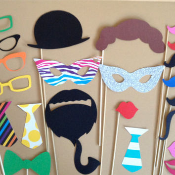 Mardi Gras Mask Photo Booth Prop Birthday Party Pack Set of 23 Wedding Photo Booth Props Photo Props Party Supplies Mustache