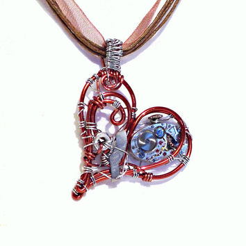 Mechanical Wire Wrap Heart Steampunk Pendant