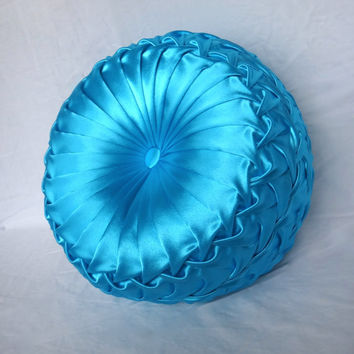 Handmade Home Decor Smocked Details Turquoise Blue Round Pillow