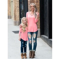 New Mother and Daughter Long Sleeve Casual Solid T-shirt Women Toddler Kids Girls T-shirt Tops Family Match Clothes