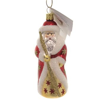 Golden Bell Collection MINI RED RUSSIAN SANTA Ornament Czech Stars Staff St279