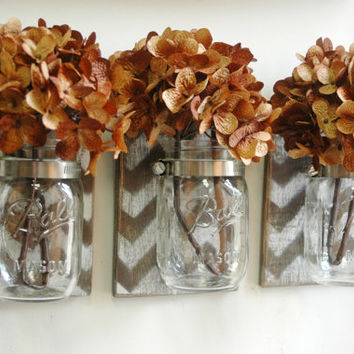 Espresso Chevron Wall Decor Trio Three Mason jars mounted on dark recycled wood shabby chic rustic wall decor