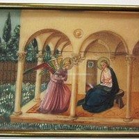 Antique Handpainted Miniature Painting The Annunciation After Fra Angelico