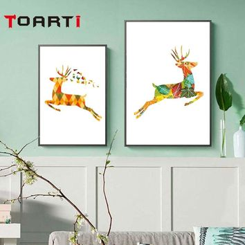 Golden Deer Geometric Home Decor Nordic Poster And Prints Modern Canvas Painting Wall Art Modular Wall Picture For Living Room