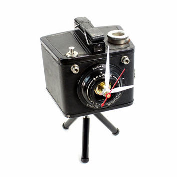 Vintage Tripod Desk Clock - Brownie Flash Six-20 White Hands - Repurposed Vintage Camera