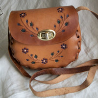 Vintage 1970s Handcrafted Mexican Leather Floral Detail Child's Purse Cute!