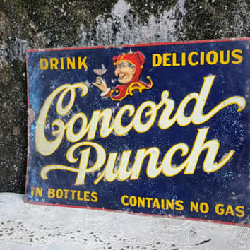 Antique Concord Punch Embossed Tin Sign Antique Advertising
