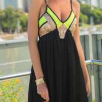 Sequins color matching condole spinning dress