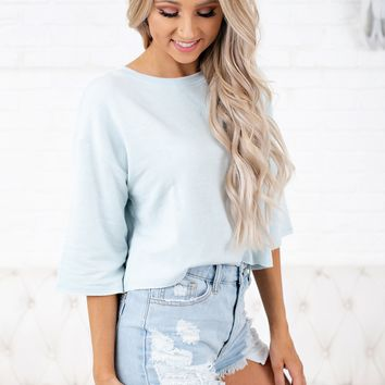Breezy Days Cropped Sweatshirt (Baby Blue)