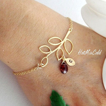 Gold Initial Bracelet, Red garnet Birthstone Jewelry, Monogram Leaf Bracelet, Bridesmaid gifts, Mother's Bracelet, Family tree Bracelet