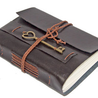 Vegan Dark Brown Faux Leather Journal with Heart Key Bookmark