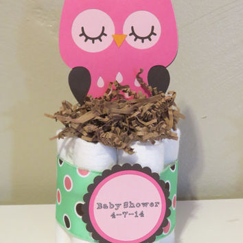 Owl Mini Diaper Cake Centerpieces for baby shower or gift