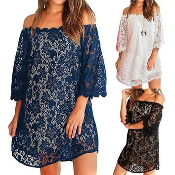 Vestidos Women's Dresses Spring Summer Dress Womens Summer Sexy Off Shouder Lace Shift Loose Beach Party Mini Dress