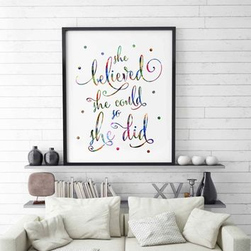 Watercolor Famous Women Quotes Wall Art Inspirational Wall Decor Text Living Room Color Dot Words Gift Cards Painting Artwork Pi