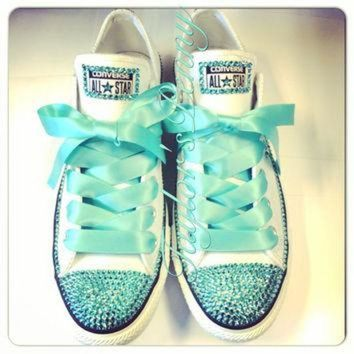 DCKL9 Women's Custom Bling Converse for bridesmaids - Mint Bedazzled Rhinestones Converse wi