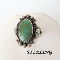 Native American Sterling Ring Old PawnTurquoise Size 8 1/2