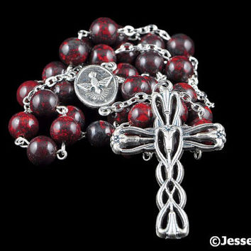 Anglican Rosary Beads Red Black Brecciated Jasper Natural Stone Prayer Beads Silver Christian Episcopal