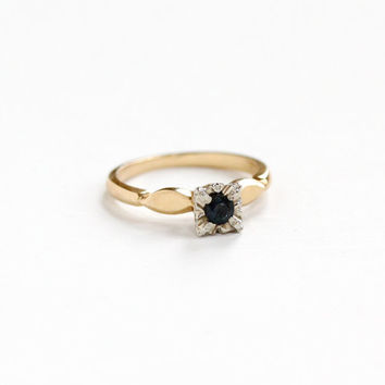 Vintage 14k Yellow and White Gold Sapphire Solitaire Ring - 1950s Mid-Century Alternative Engagement Fine Two Tone Jewelry