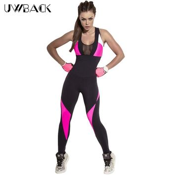 2017 New Brand Women Jumpsuits Fitness Patchwork  Black Summer Yuga Leggings Net Halter Sexy Playsuits Overalls Bodysuit XB442