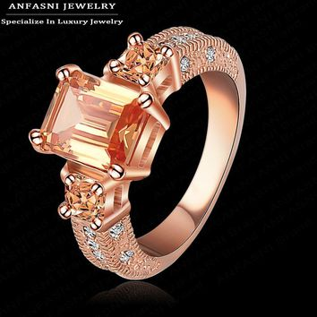 ANFASNI Top Christmas Gift Rose Golden Color Ring Elegant Ring Micro Inlay  SWA Stellux Austrian Champagne Crystal Ri-HQ1018