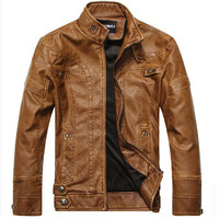 Motorcycle Leather Jackets Men Autumn Winter Leather Clothing Men Leather Jackets Male Business casual Coats New clothing