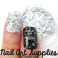 nailartsupplies | Silver Confetti Tinsel Unique Bright Silver Raw Nail Glitter Mix 3.5 Grams | Online Store Powered by Storenvy