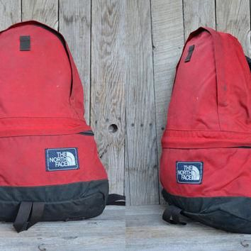 Vintage The North Face Black & Red Cordura Tear Drop Daypack Backpack