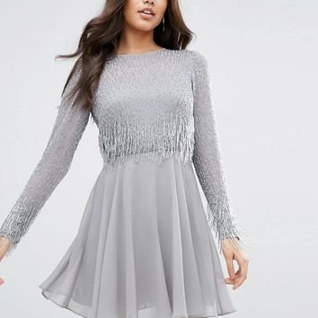 ASOS Embellished Tassle Long Sleeve Mini Dress at asos.com