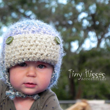 INSTANT DOWNLOAD PDF pattern. Crochet Aviator Hat Pattern with ties. Aviator Hat. Crochet boy hat pattern.