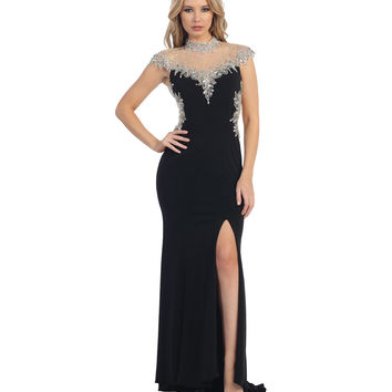 Black & Nude Beaded High Neck Slit Illusion Dress 2015 Prom Dresses