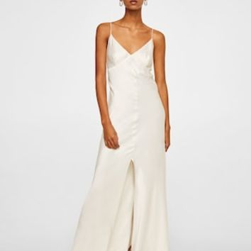 Silk-blend long dress - Women | MANGO USA